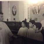 Rehearsal in Ipswich School Chapel 1993 with William Dore, Tim Kiddell, Andrew Gaskell and me in the back row.